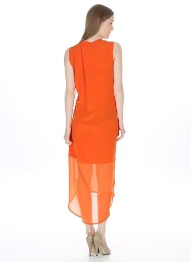 Mia V Yaka Şifon Detaylı Elbise Oranj